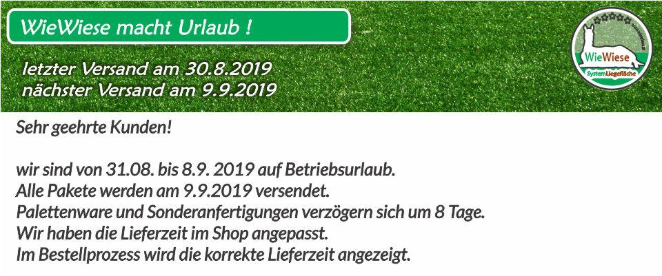 Betriebsurlaub vom 31.08. - 8.9.2019