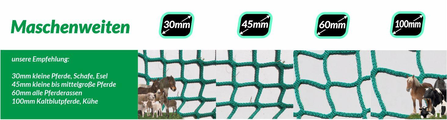 HDPP Netze in 4 Maschenweiten